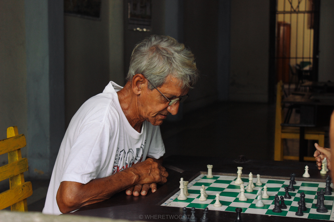 man playing chess in cienfuegos