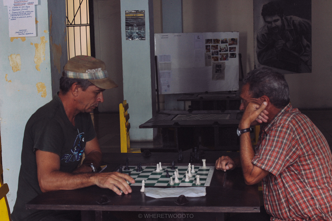 men playing chess in cienfuegos